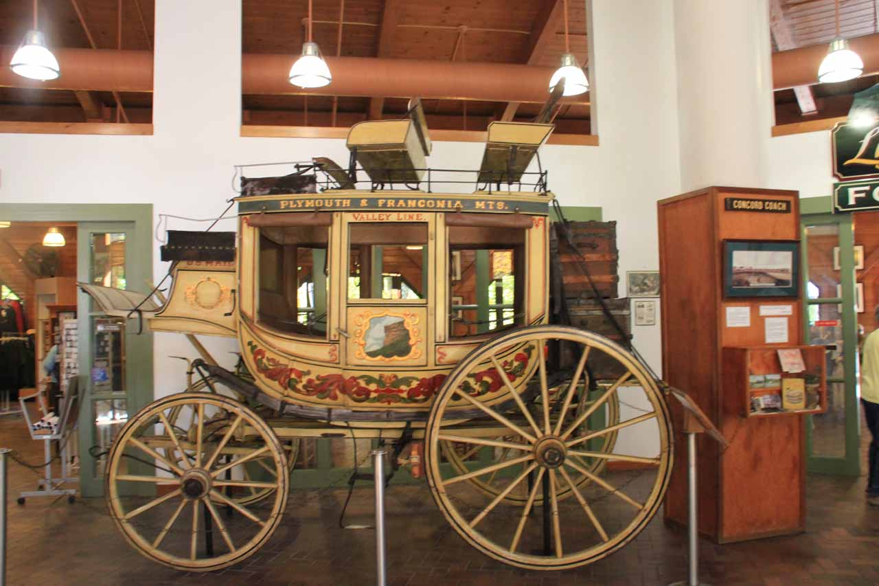 One of the historical artifacts on display inside the Flume Visitor Center