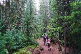 The_Grottos_008_07252020 - Julie and Tahia walking through a forest on the short trail leading to the Cascades