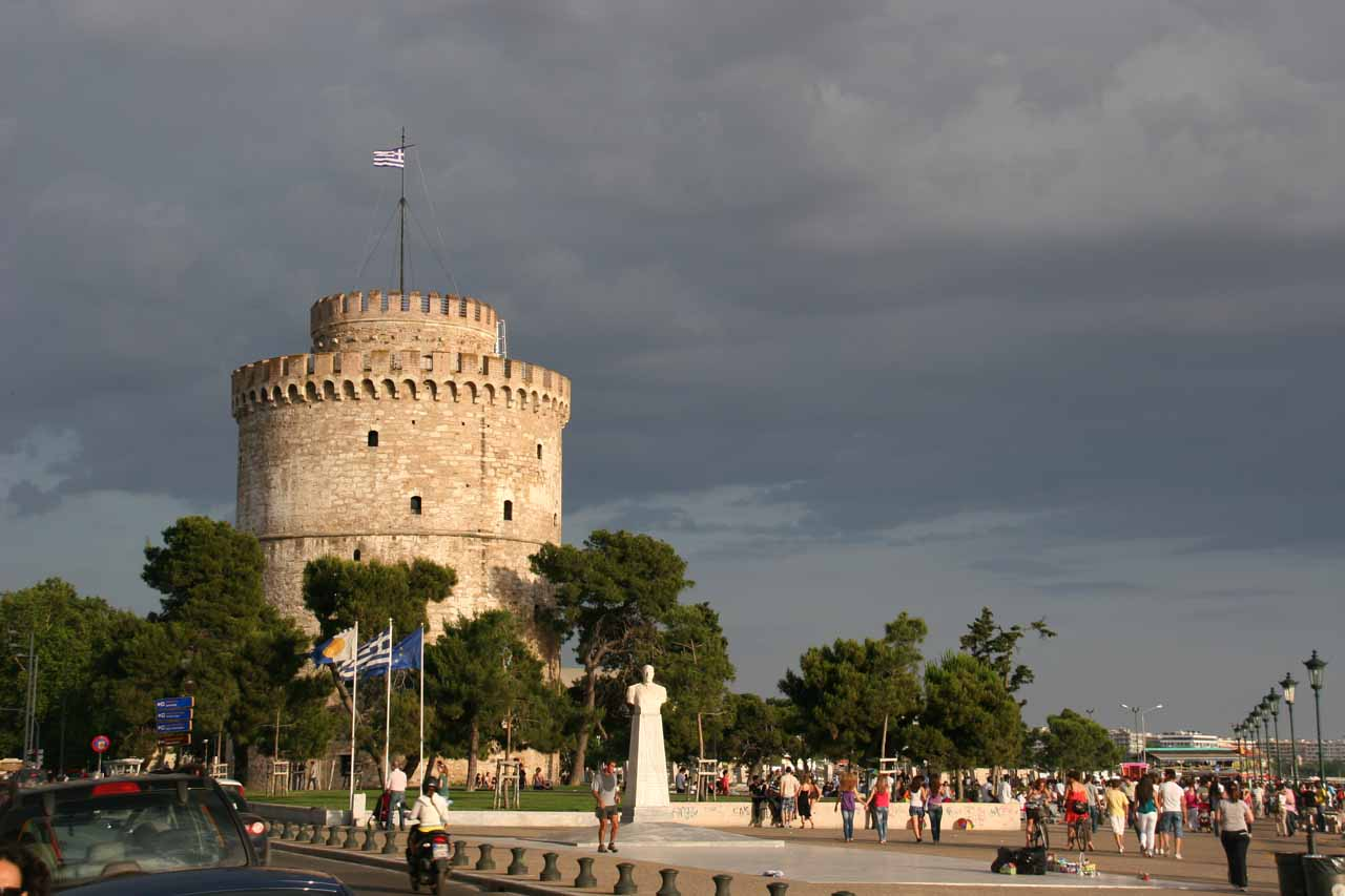 Thessaloniki (where we stayed) and its famous White Tower was a 90-minute drive from Edessa so we visited the waterfalls as part of a half-day out-and-back excursion
