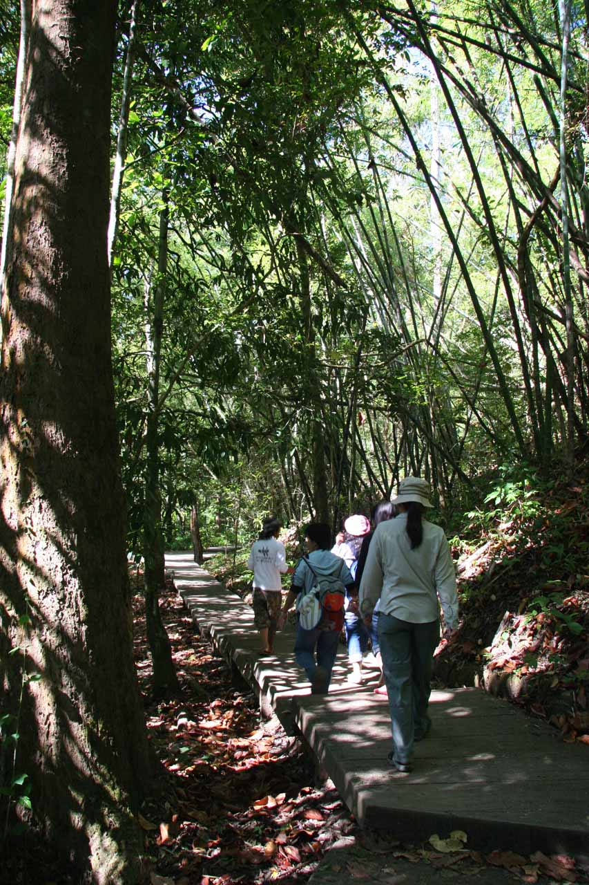 On the boardwalk to the Thi Lo Su Waterfall