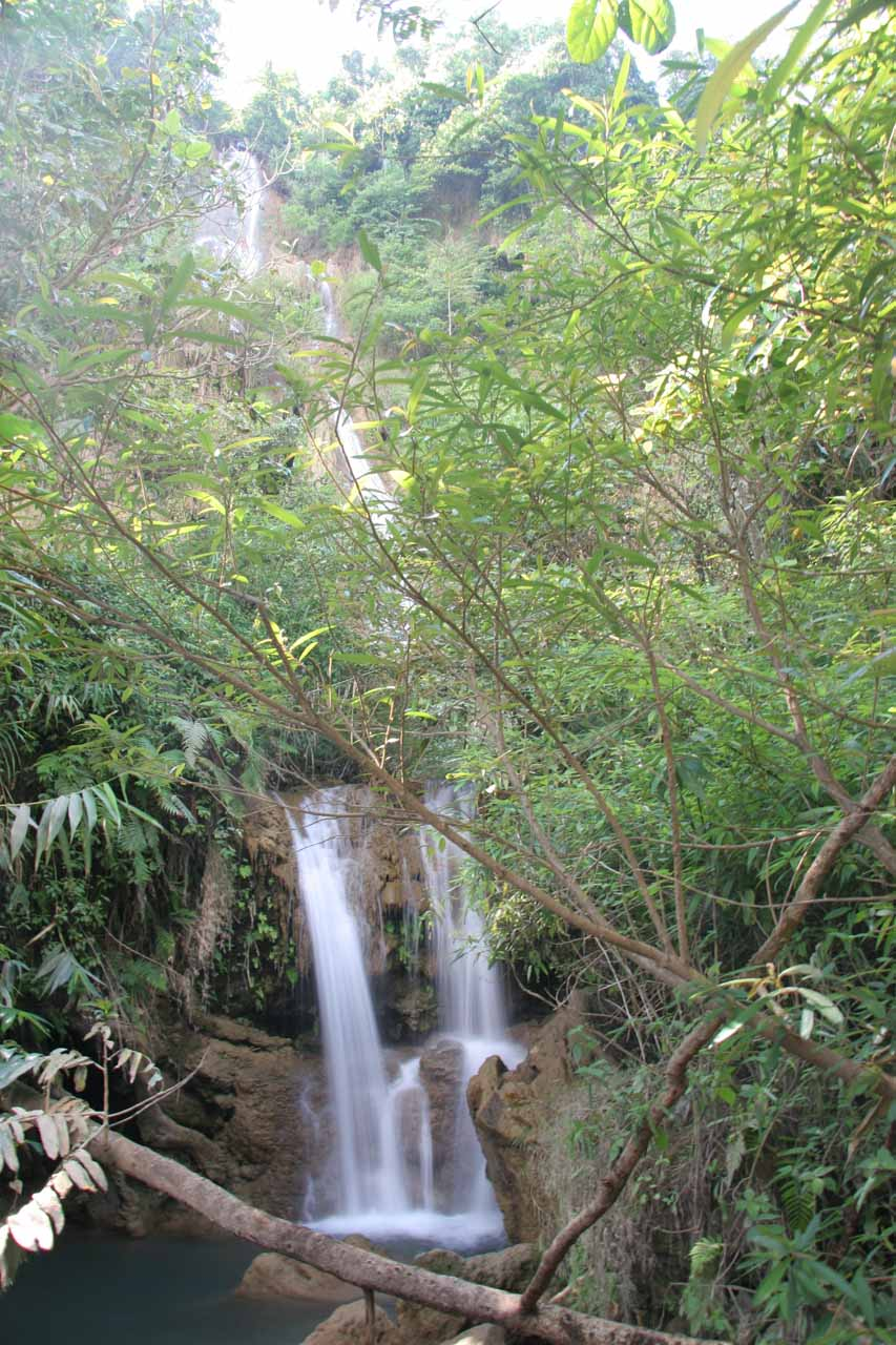 One of the thinner waterfalls to the right of the more pictureseque leftmost tier of the Thi Lo Su Waterfall