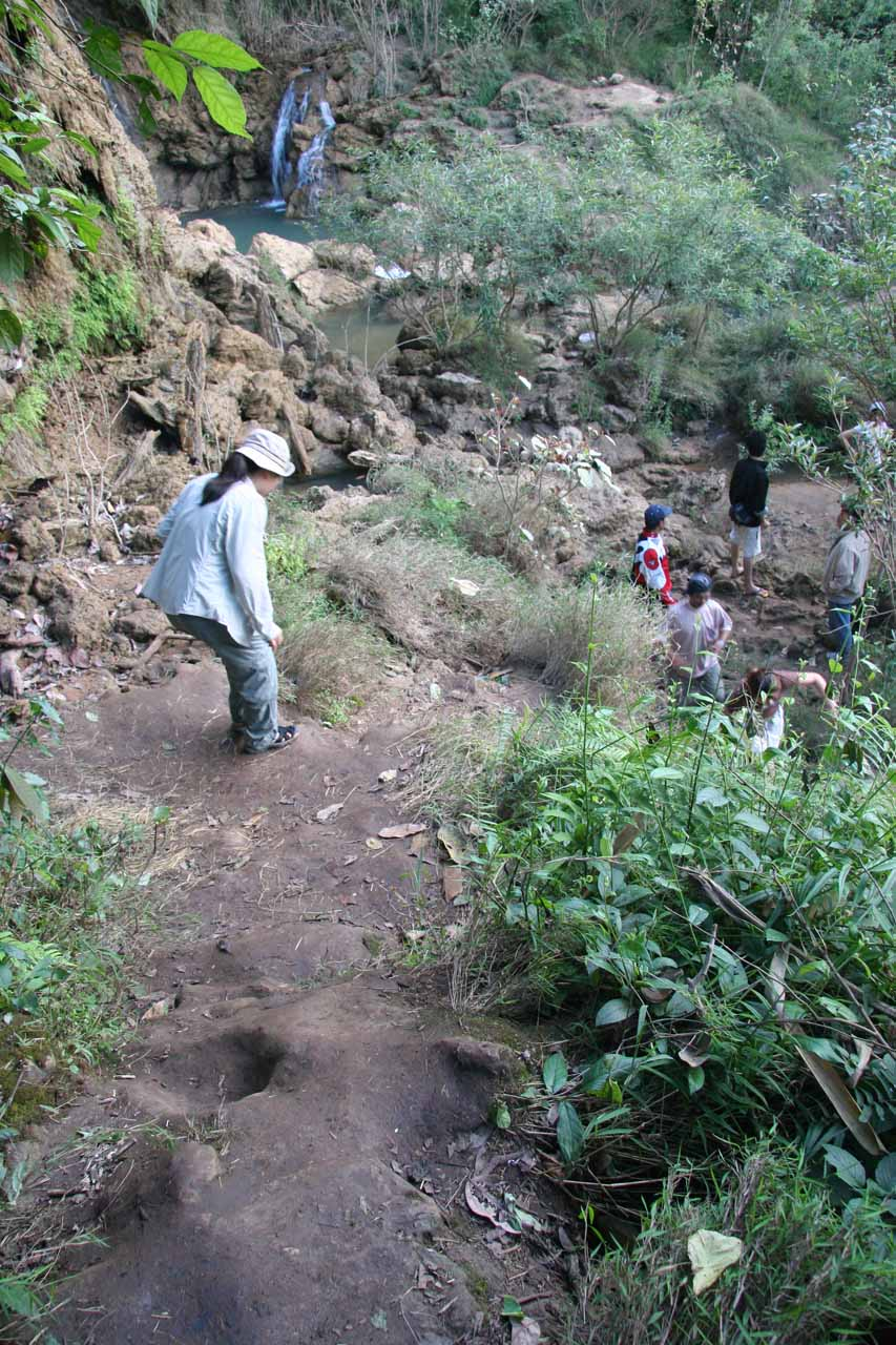 After having climbed up to the middle tiers of Thi Lo Su Waterfall, Julie and I now had to carefully scramble back down
