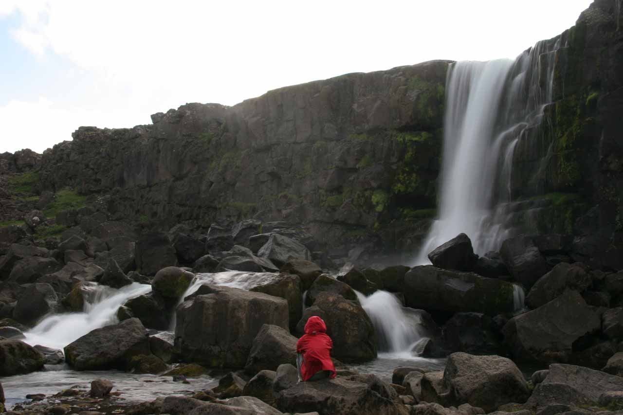 Julie checking out Oxararfoss