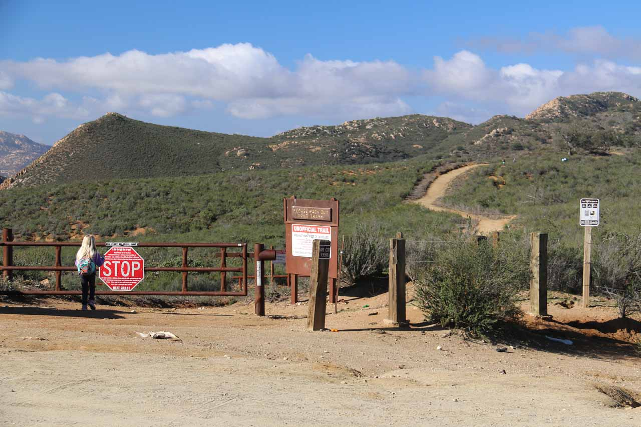 This was the actual trailhead for Three Sisters Falls. There was another gate on the right, but that was for Cedar Creek Road. Note the girl in this picture.  Something we didn't do was bring our girl on this hike.  I wasn't sure if this girl would enjoy the experience or not given how difficult it was