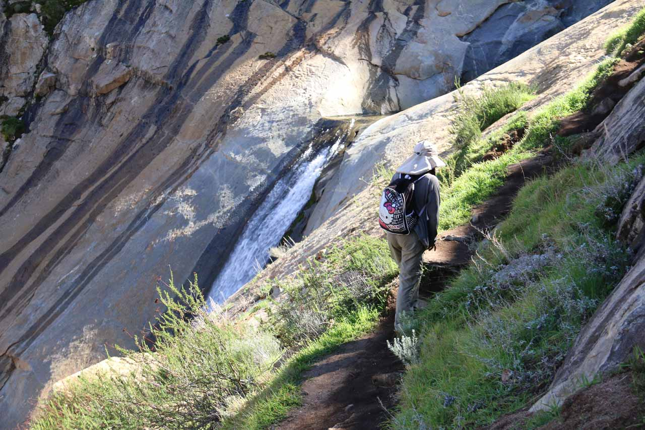 Once we were above the steep gully, we were briefly on this narrow ledge taking us above the middle waterfall