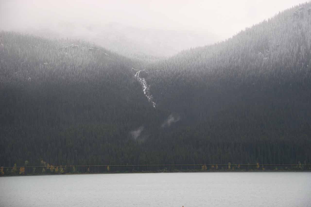 Contextual look at Thunder Falls over Moose Lake