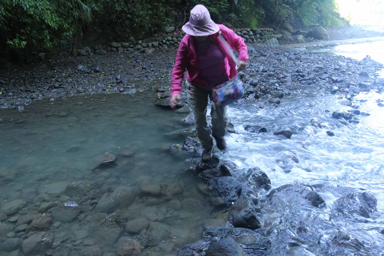 There was enough water in the stream (probably because Eastern Taiwan was battered with lots of rain and typhoons before we showed up at the end of October in 2016) to cause us to balance ourselves while crossing it