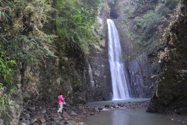 Tiefen_Waterfall_028_10272016 - Mom scrambling over the slippery boulders en route to the Tiefen Waterfall after having made it past the dam obstacle