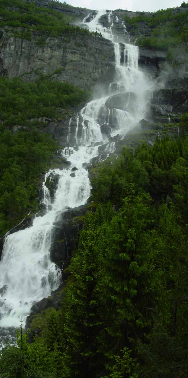 This is a stitched photograph of Tjørnadalsfossen to try to get it all in one shot