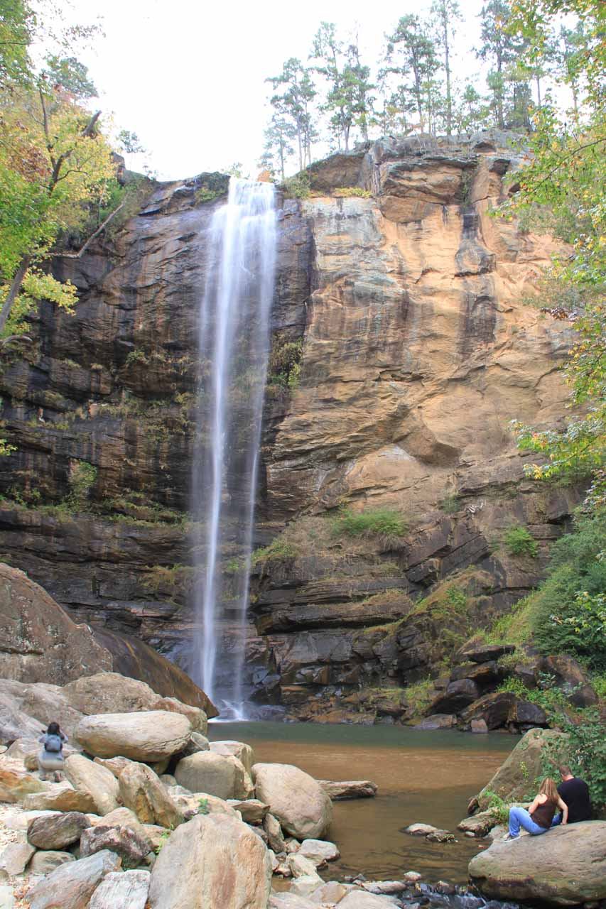 People chilling out in front of Toccoa Falls