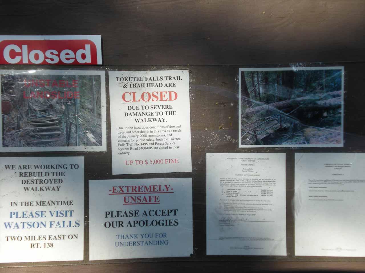 Closure signs at the Toketee Falls trailhead