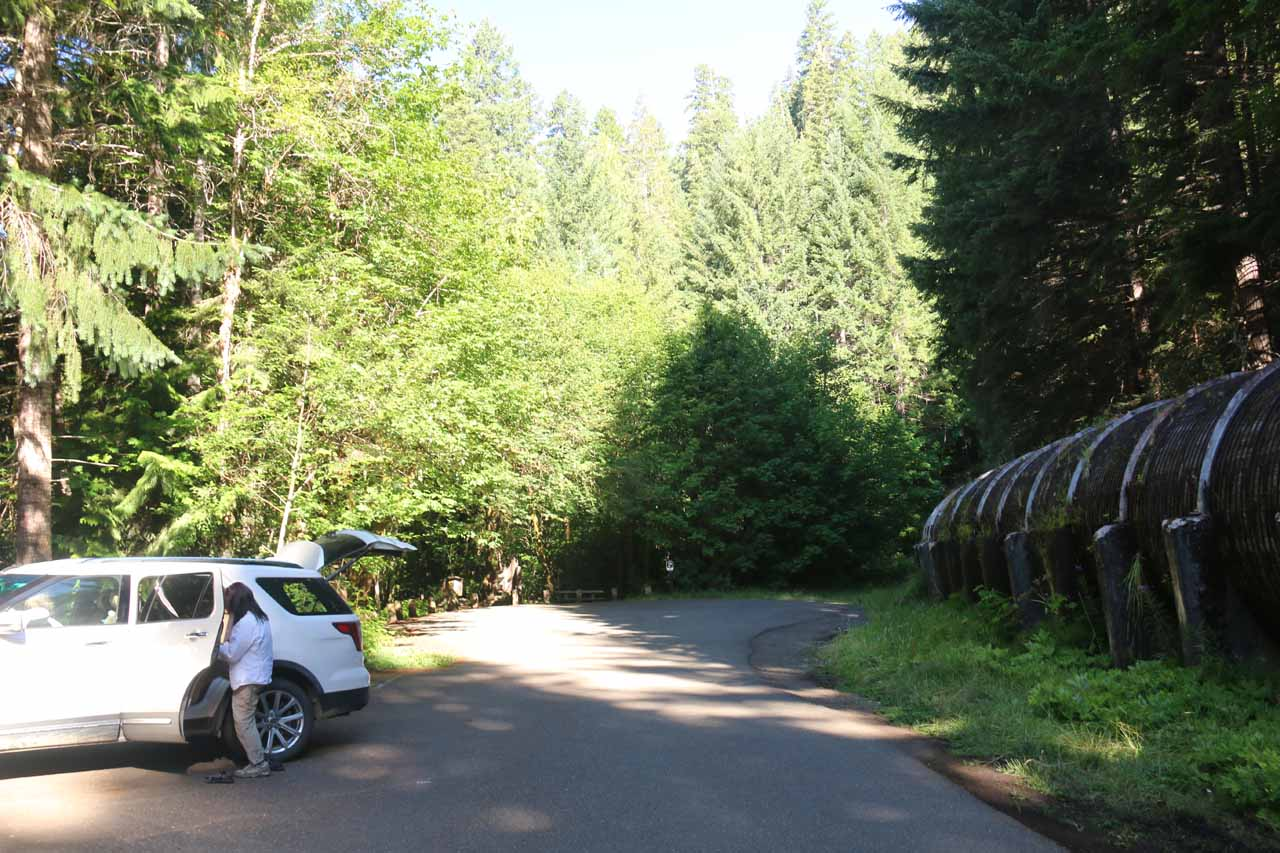 This was the trailhead parking for Toketee Falls. Notice the huge pipe on the far right, which was part of the so-called Toketee Project involving the diversion of the North Umpqua River for hydroelectricity while also more or less regulating the river's flow over Toketee Falls