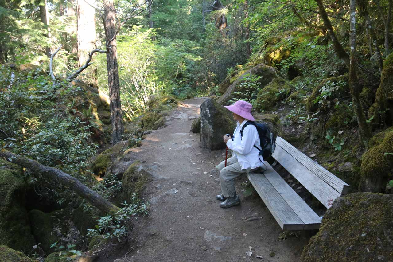 This was the rest bench that Mom took advantage of after all the climbing steps