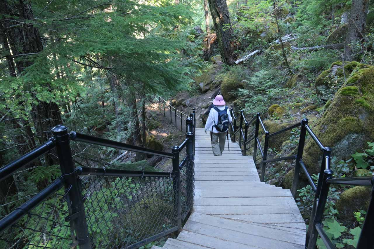 Mom starting the final descent to the lookout deck for Toketee Falls