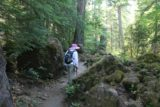 Toketee_Falls_086_07142016 - Mom passing through some mossy rocks on the way back from Toketee Falls