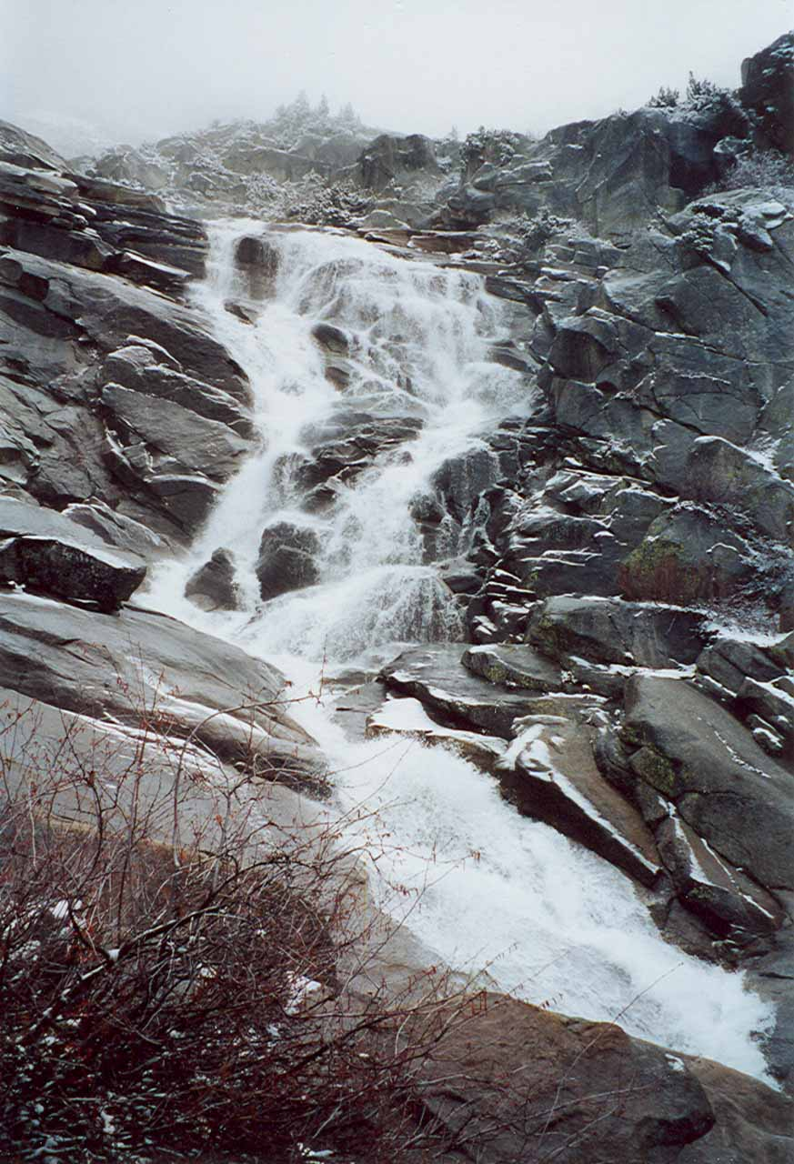 This was as low as I would scramble for this more fulfilling look at the lower section of Tokopah Falls (taken in 2002)