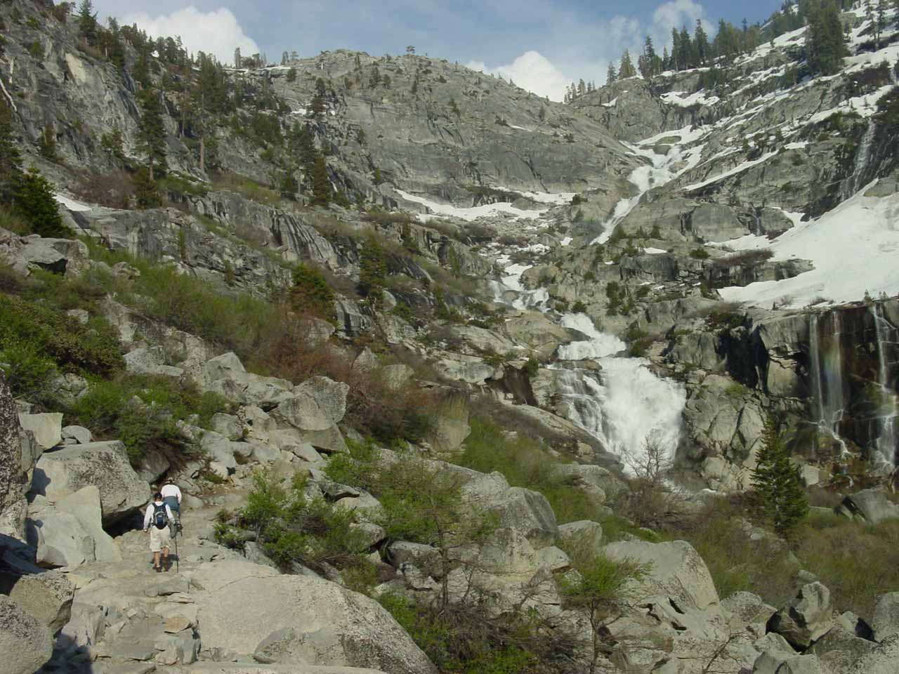 My parents approaching the impressive Tokopah Falls