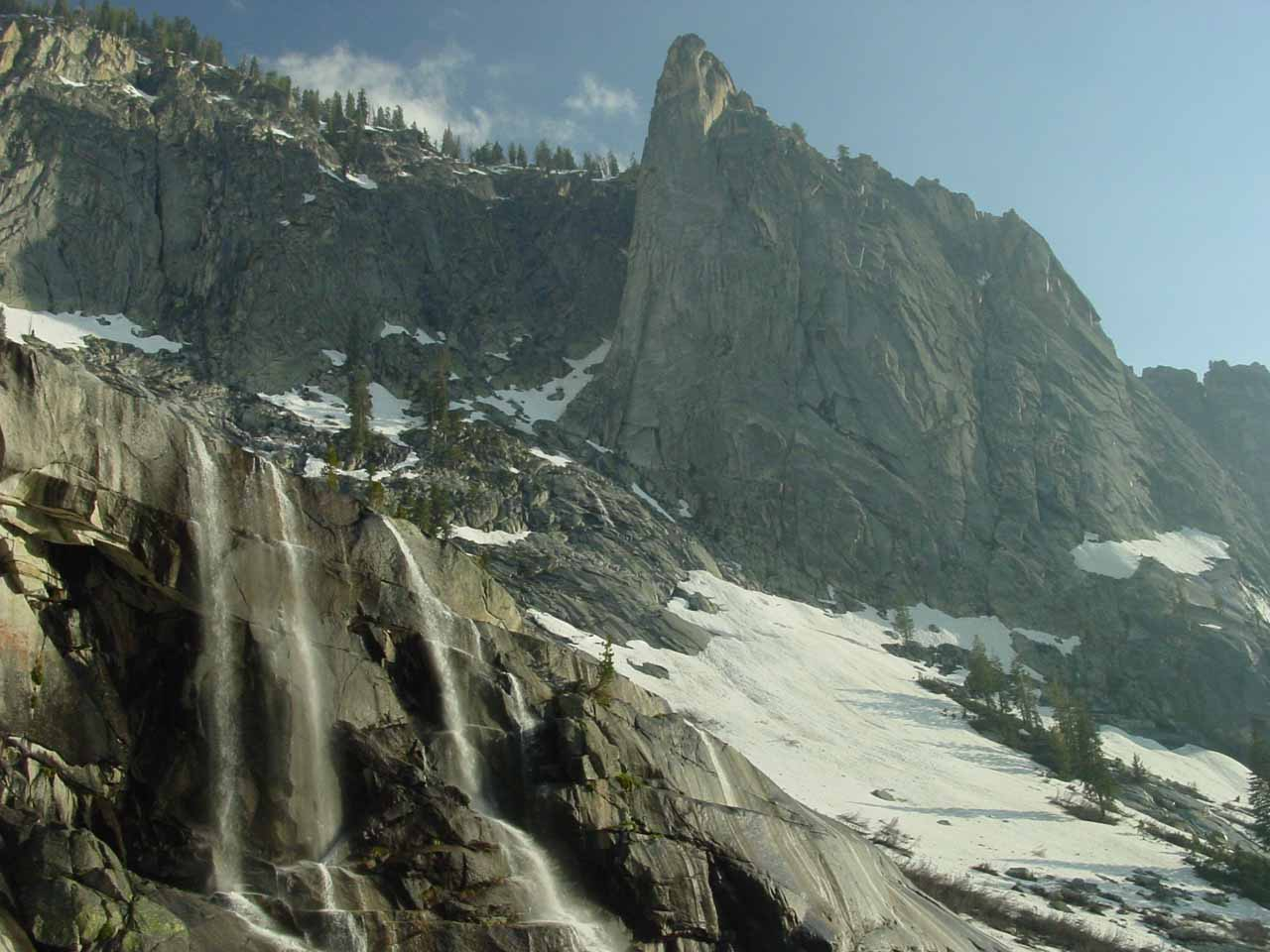 Looking towards the Watchtower and a trio of ephemeral waterfalls from the end of the Tokopah Falls trail