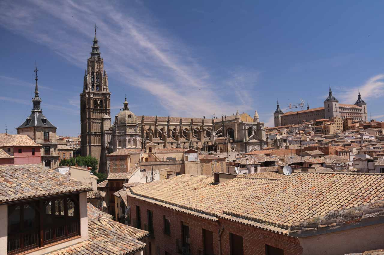 View from the rooftop of our accommodation towards both the Cathedral and the Alcazar