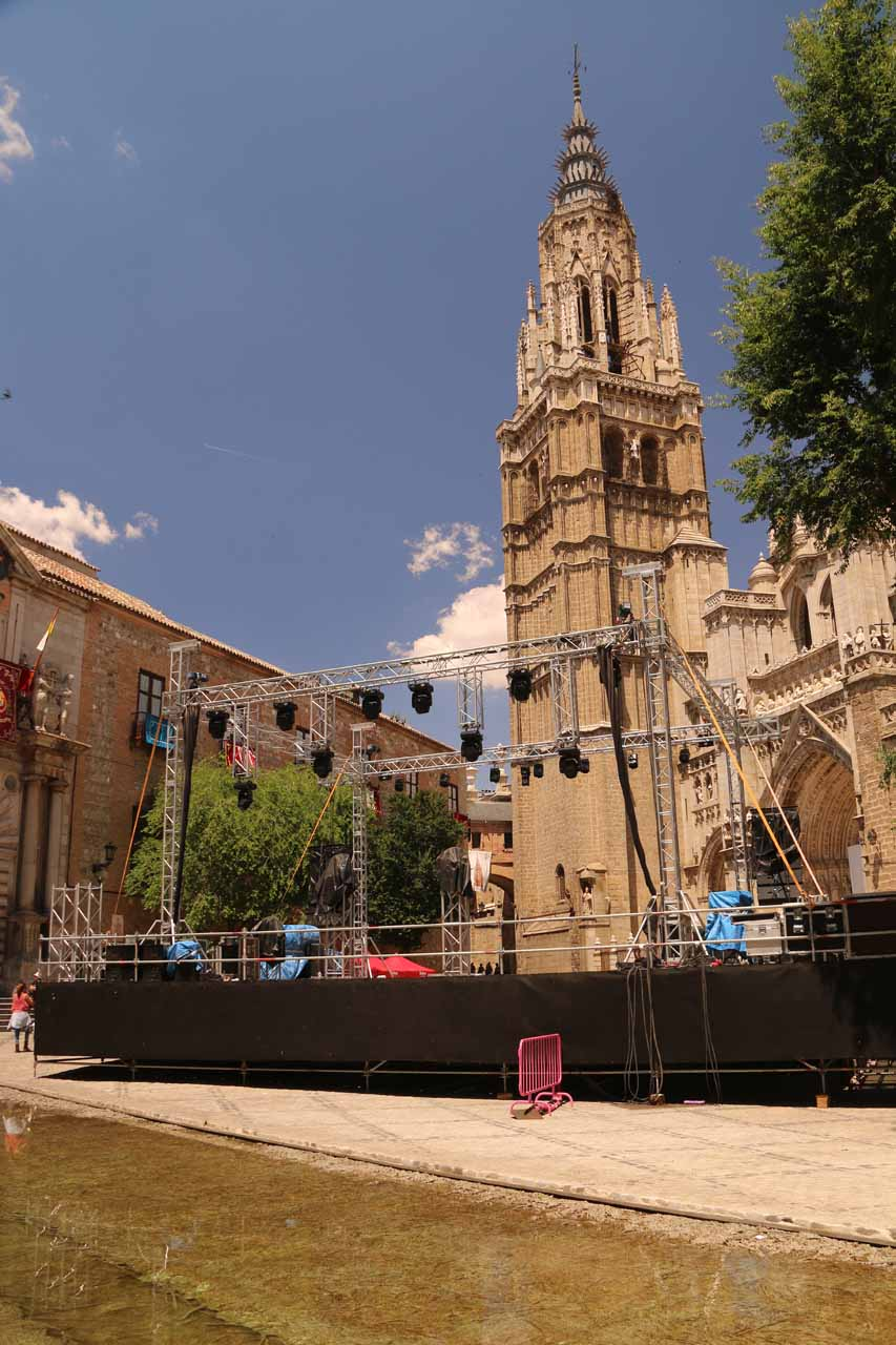 While looking towards the cathedral, we saw that some kind of stage was being set up, which took away from the views of the cathedral from here