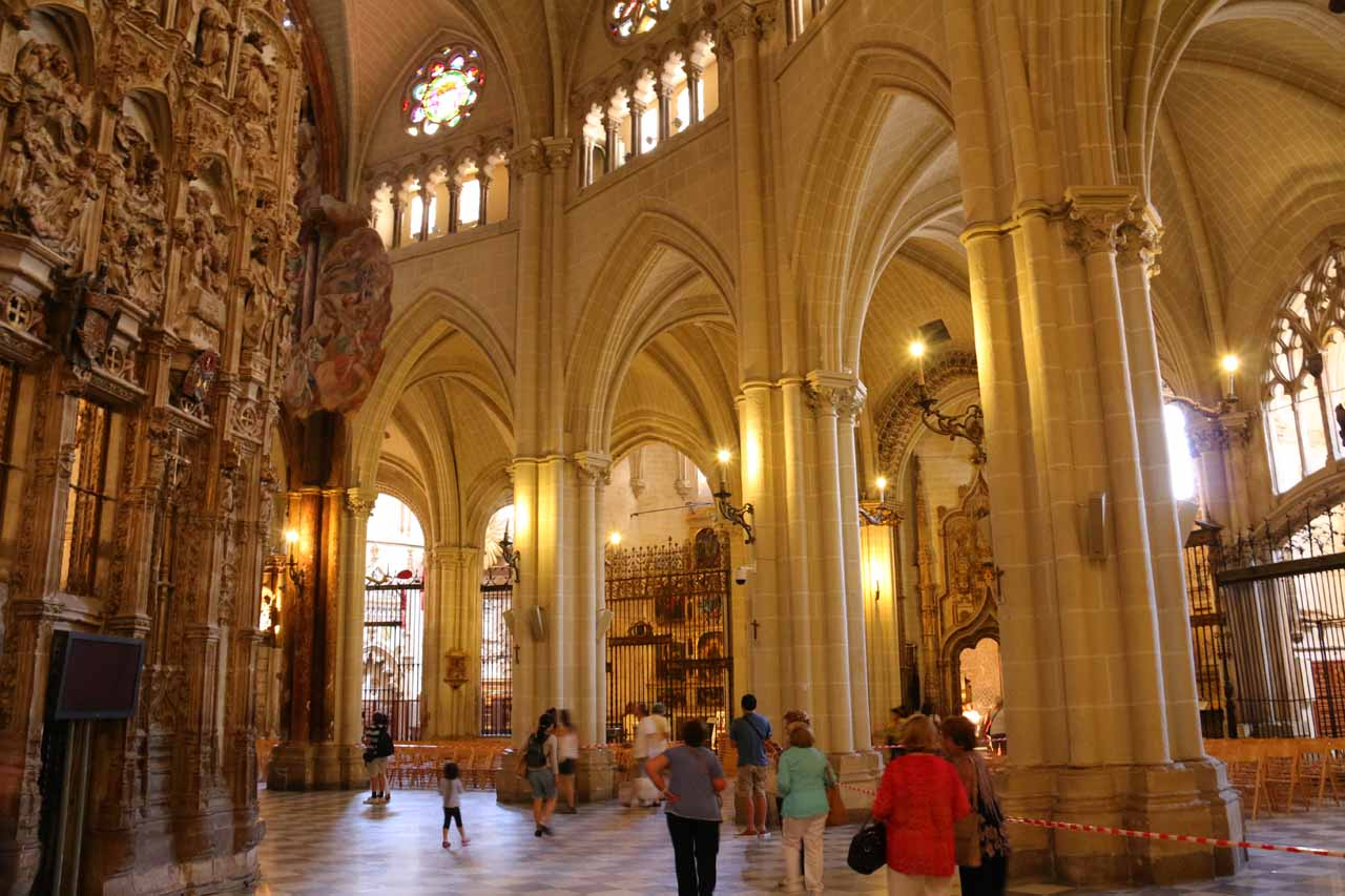 Checking out the arches and rooms behind the main altar inside the Catedral de Toledo