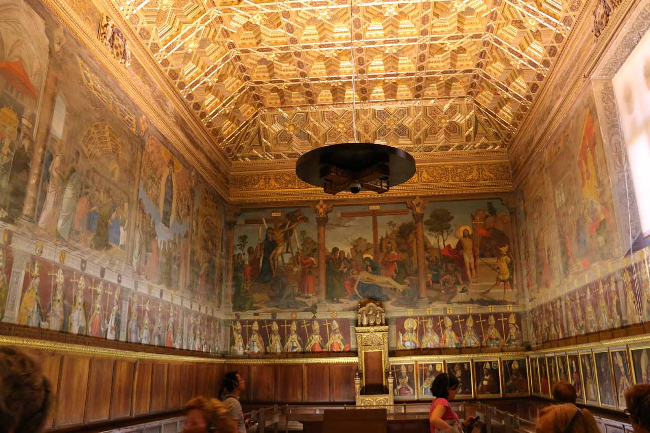 One of the rooms (the Chapter Room) inside the Catedral de Toledo, where this one featured a lot of tapestries lining its walls