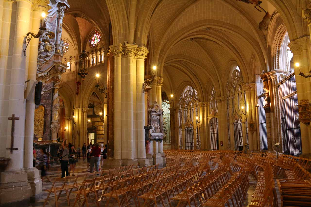 A lot of chairs had been set up behind the main altar of the Catedral de Toledo though we didn't know why