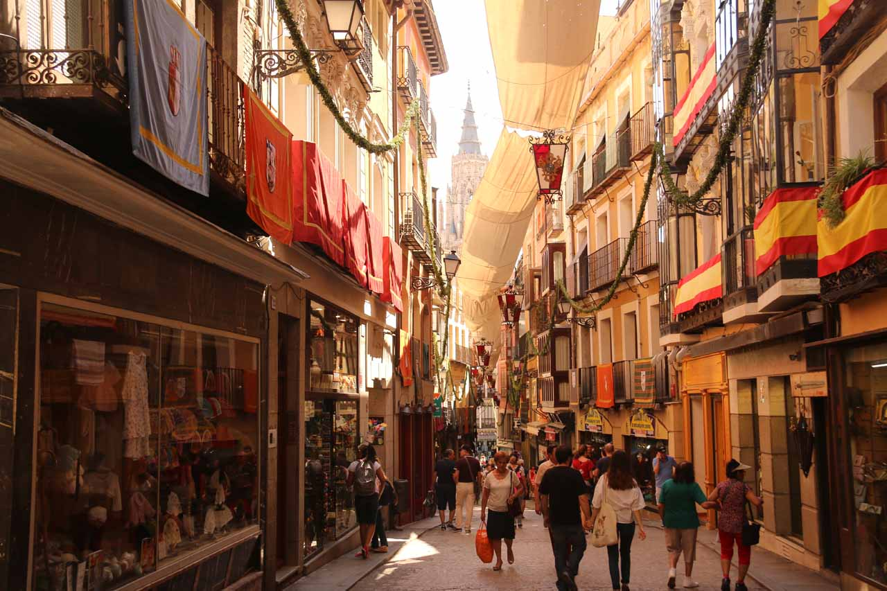 At the atmospheric and bustling Calle Comercial as we looked for Plaza Zocodover