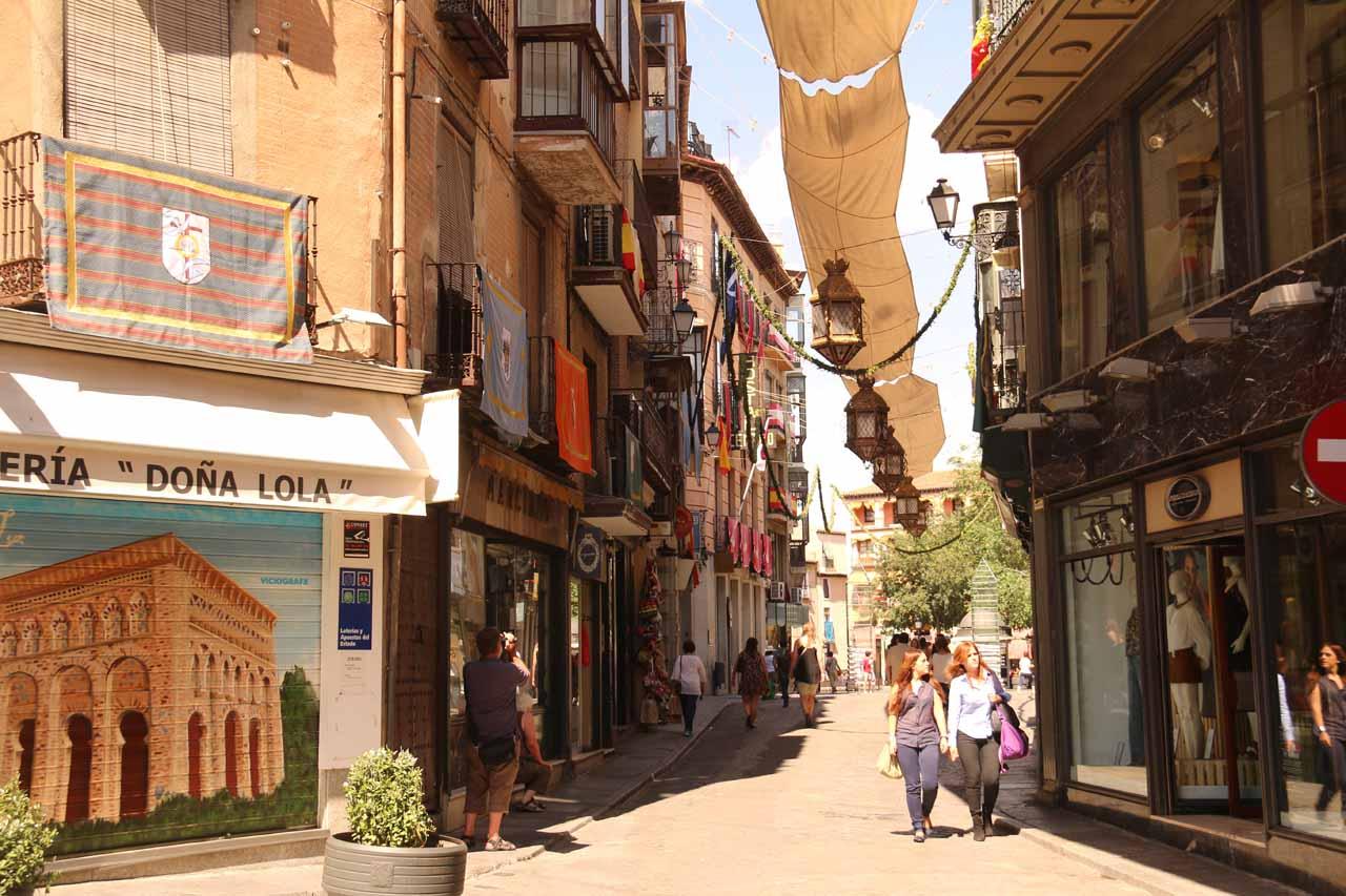 A sunny spot on Calle Comercial as we were pretty close to Plaza de Zocodover