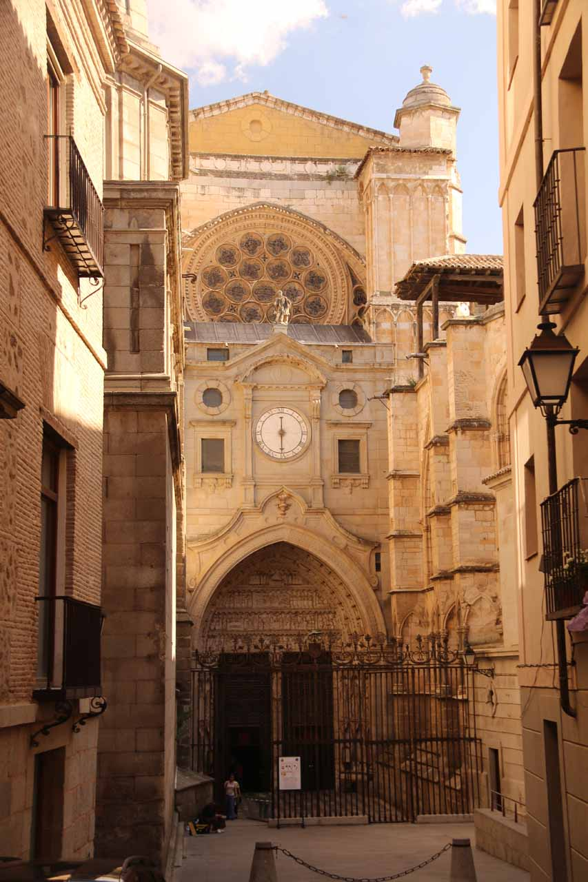 Checking out the clock and facade at the backside of the Catedral de Toledo