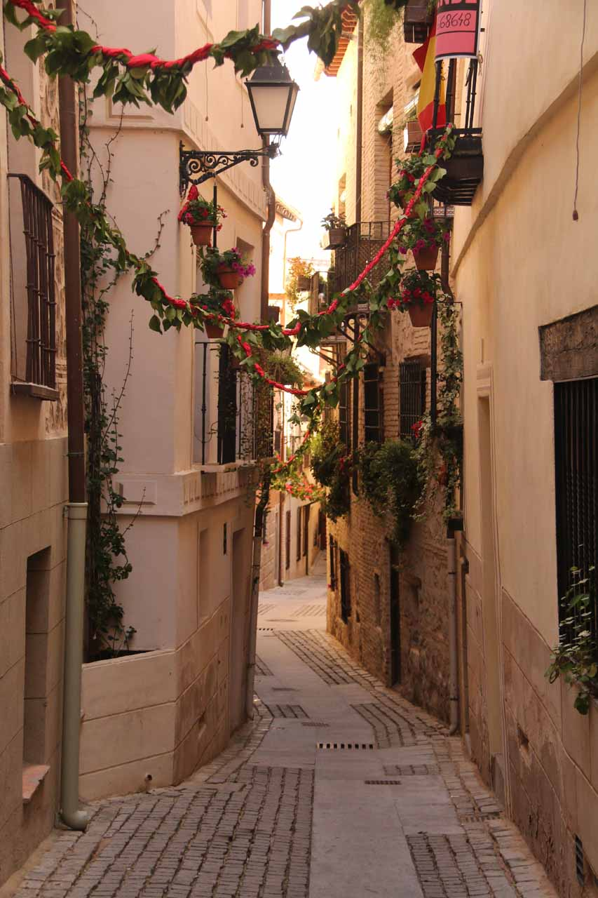 Looking towards a charming little side street in Toledo though this one led to a dead end
