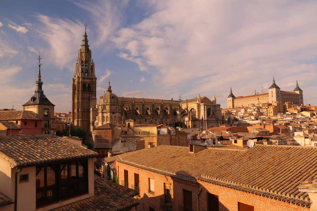 Late afternoon view from the rooftop terrace of our hotel looking towards the Catedral de Toledo and the Alcazar