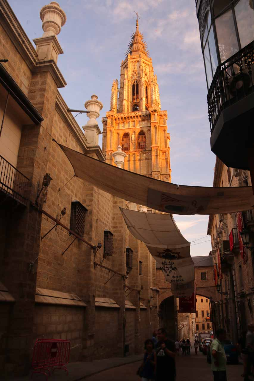 Late afternoon light on the bell tower of the Catedral de Toledo