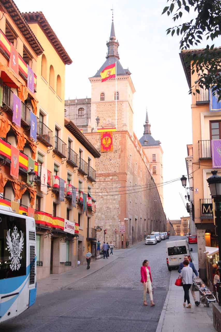 Looking along Cuesta Carlos V towards the Alcazar from Plaza de Zocodover