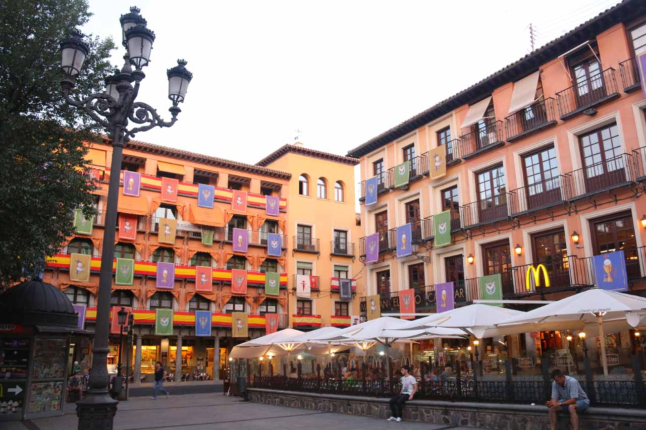 Colorful buildings by the McDonalds at the Plaza de Zocodover
