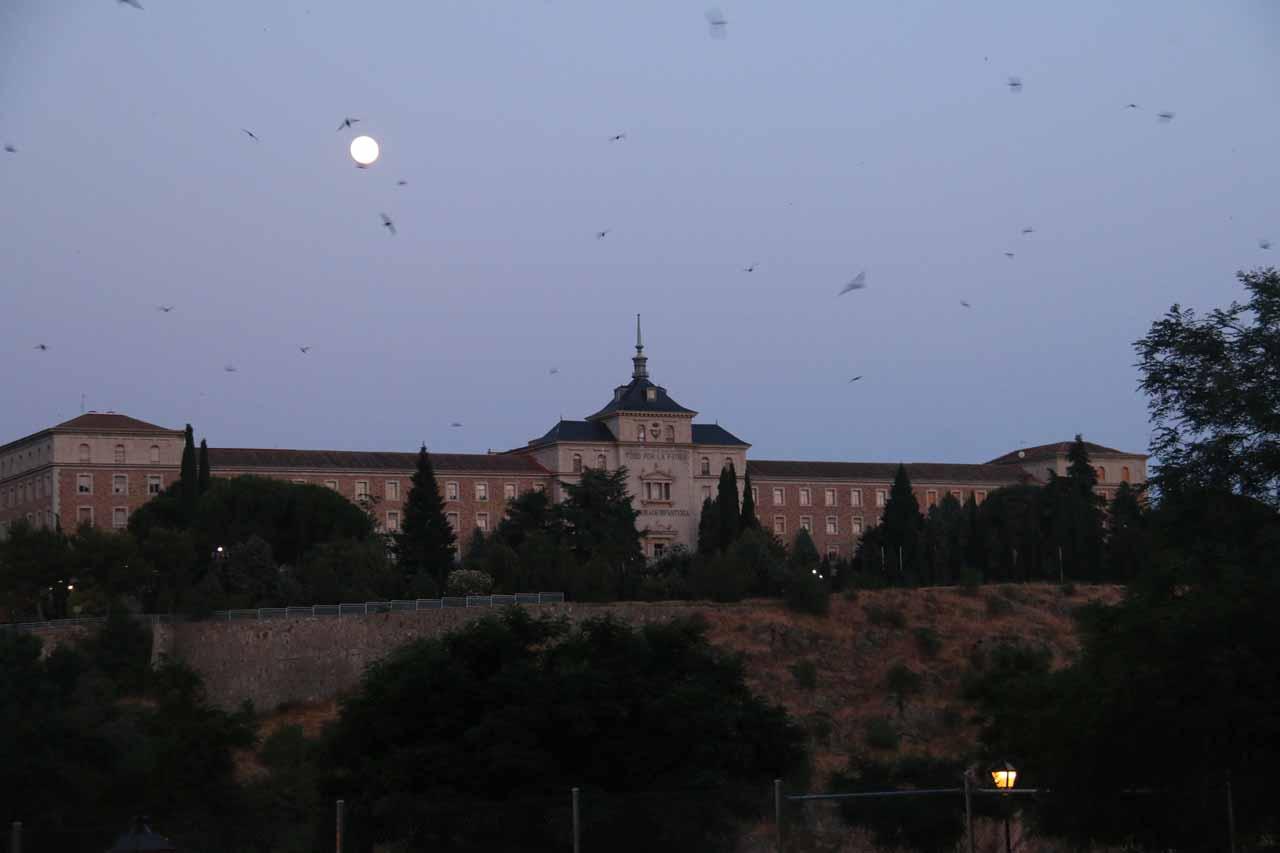 Full moon over the Academia de Infanteria as seen as we approached the Putente Nuevo de Alcantara