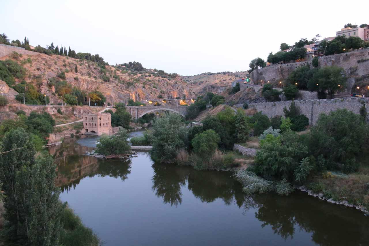 Looking downstream along the Rio Tajo from the Puente Alcantara
