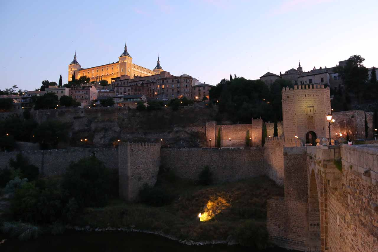 Looking back towards the Alcazar in twilight from the Puente Alcantara