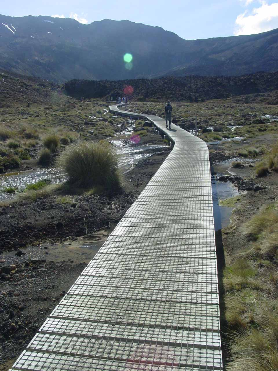 Getting to a point where the Tongariro Crossing started to climb