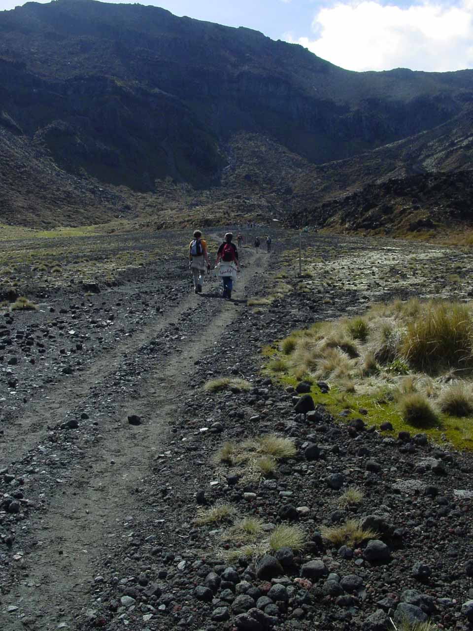 Getting closer to the initial serious climb of the Tongariro Crossing