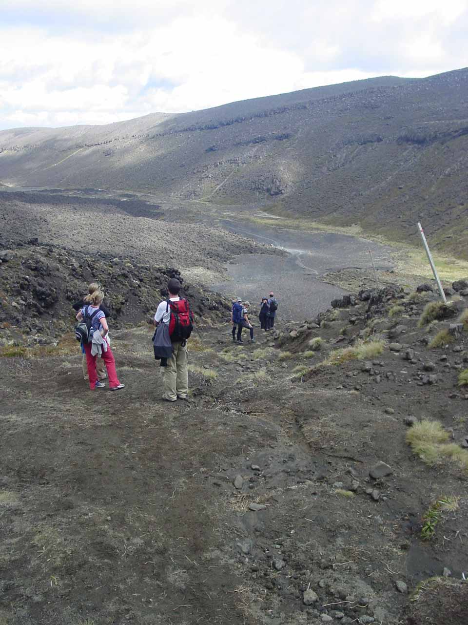 Looking back down at other people making the ascent on the Tongariro Crossing