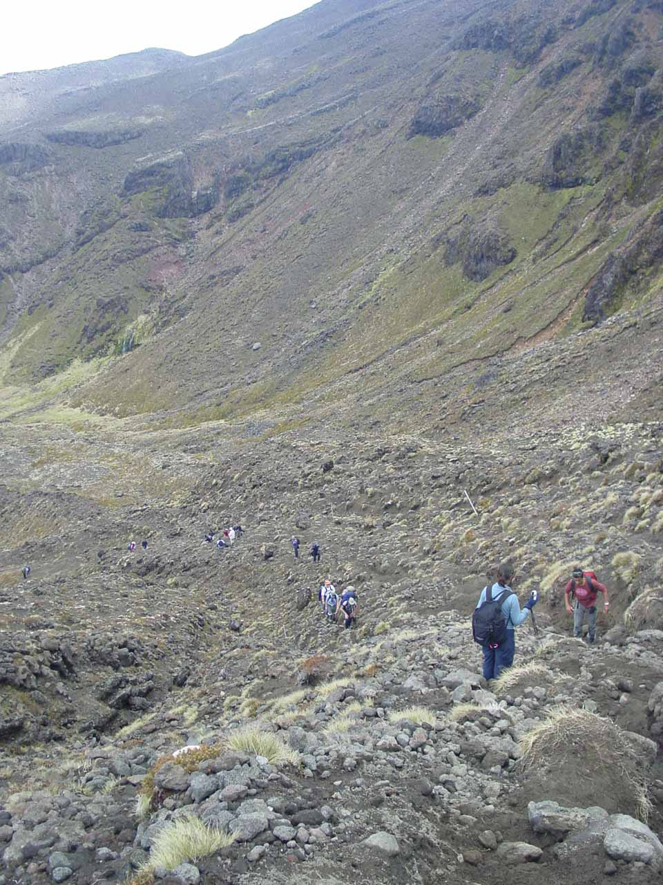Looking back down at other people making their way up the steep climb to the South Crater on the Tongariro Crossing