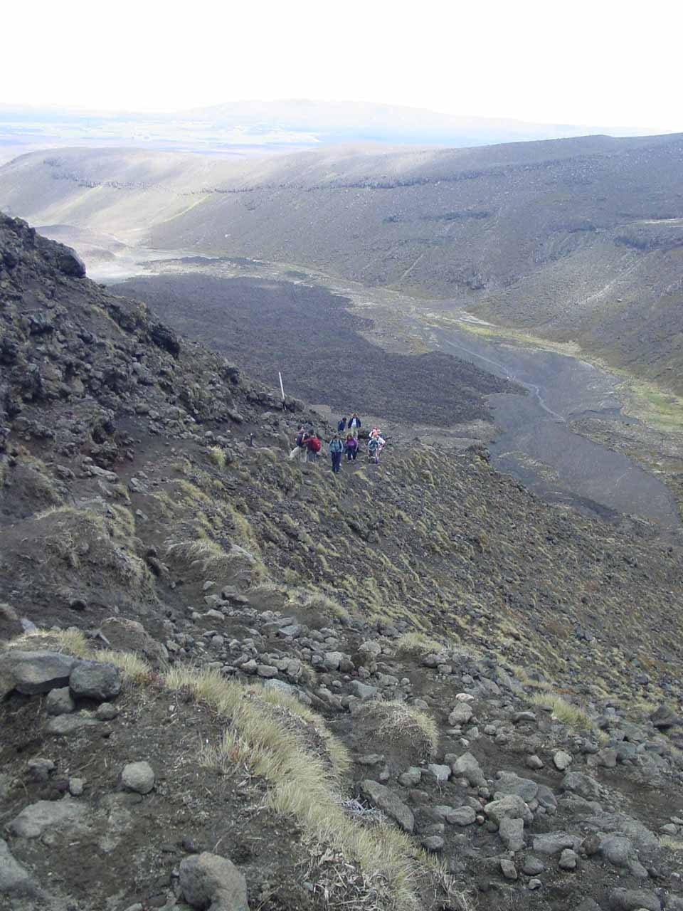 Looking down at more people climbing up and catching up to us on the Tongariro Crossing