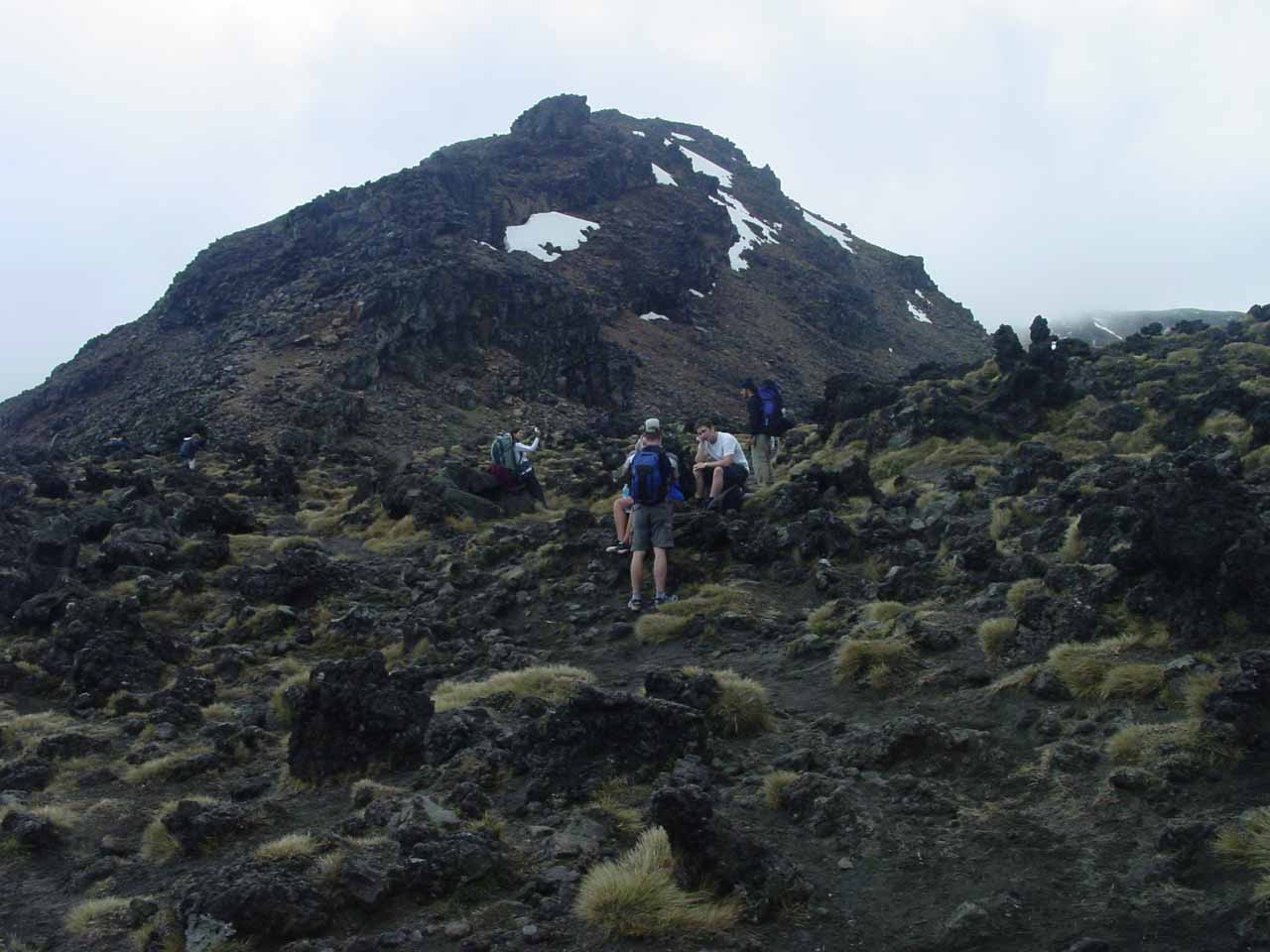 Going up higher on the brutal climb towards the South Crater
