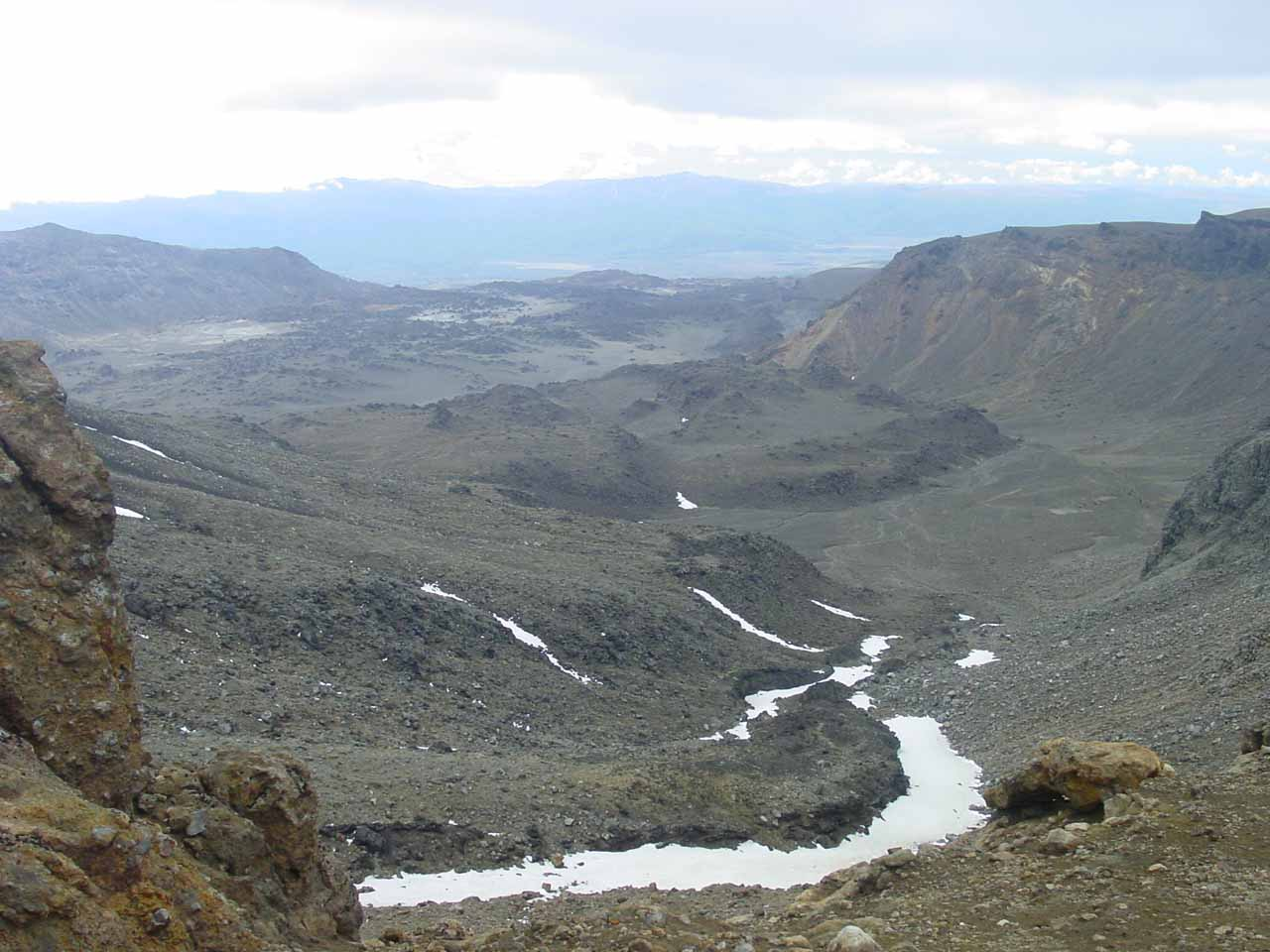 Looking across the desolate terrain as we were continuing to go up higher on the Tongariro Crossing