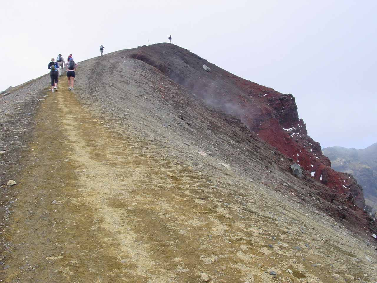 Climbing up the rim of the Red Crater
