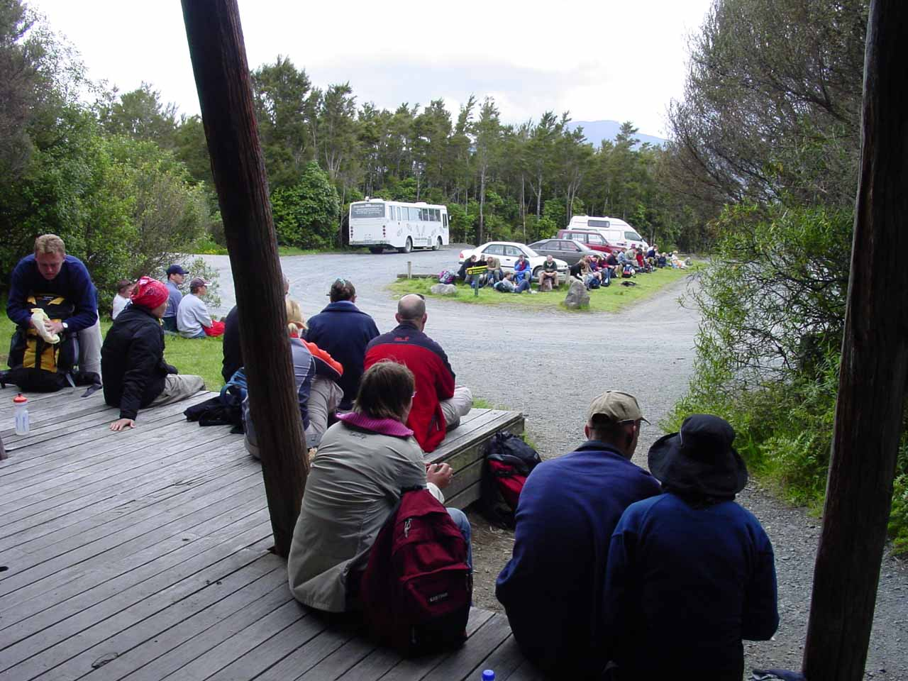 Waiting for our shuttle ride at the end of the Tongariro Crossing