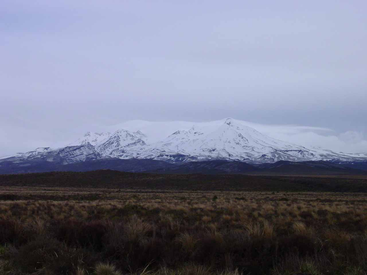 On the way to Ohakune and Mangawhero Falls, we took the Desert Rd, which provided these views of the snowy volcanic peaks of Tongariro National Park