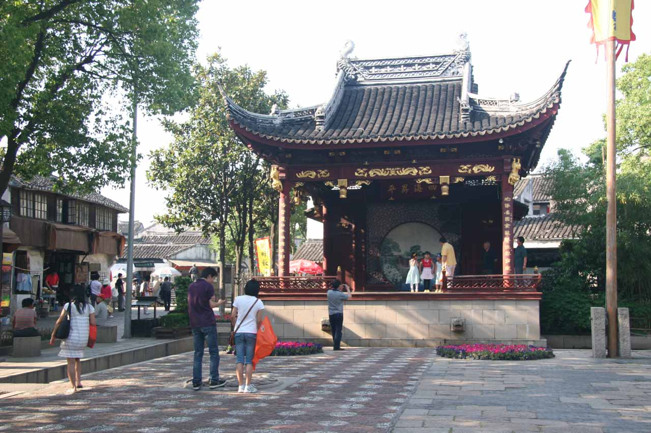 Checking out a small pagoda that looked like a performing center in Tongli