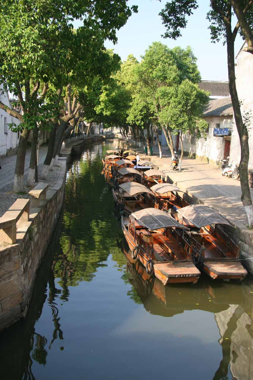 The gondolas or boat rides in the canals of Tongli